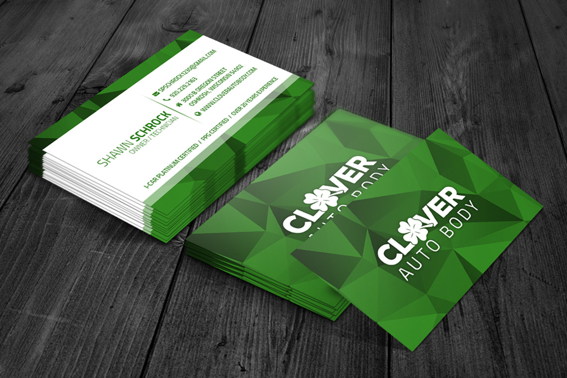 Clover Auto Body Business Cards
