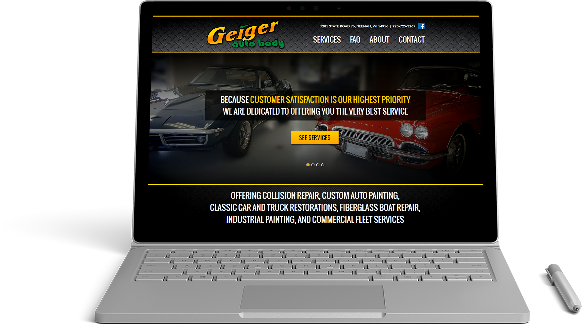 Geiger Auto Body Website Preview